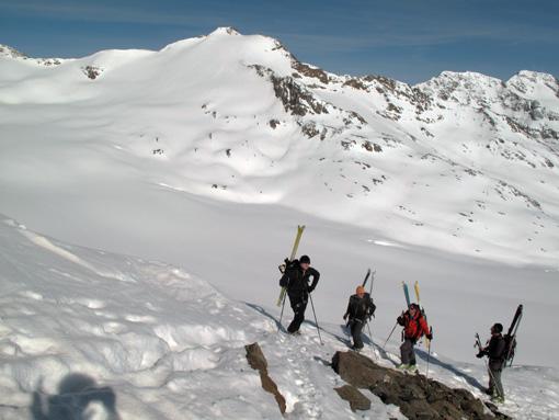 Pod vrhom Teufelsegga preko katerega smo šli na poti na Langtauferer spitze (zdaj)