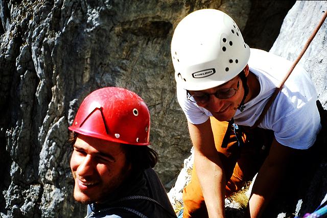 Miha in Peter v južni steni Planje leta 2005