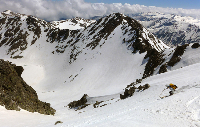 skiing from  Musala