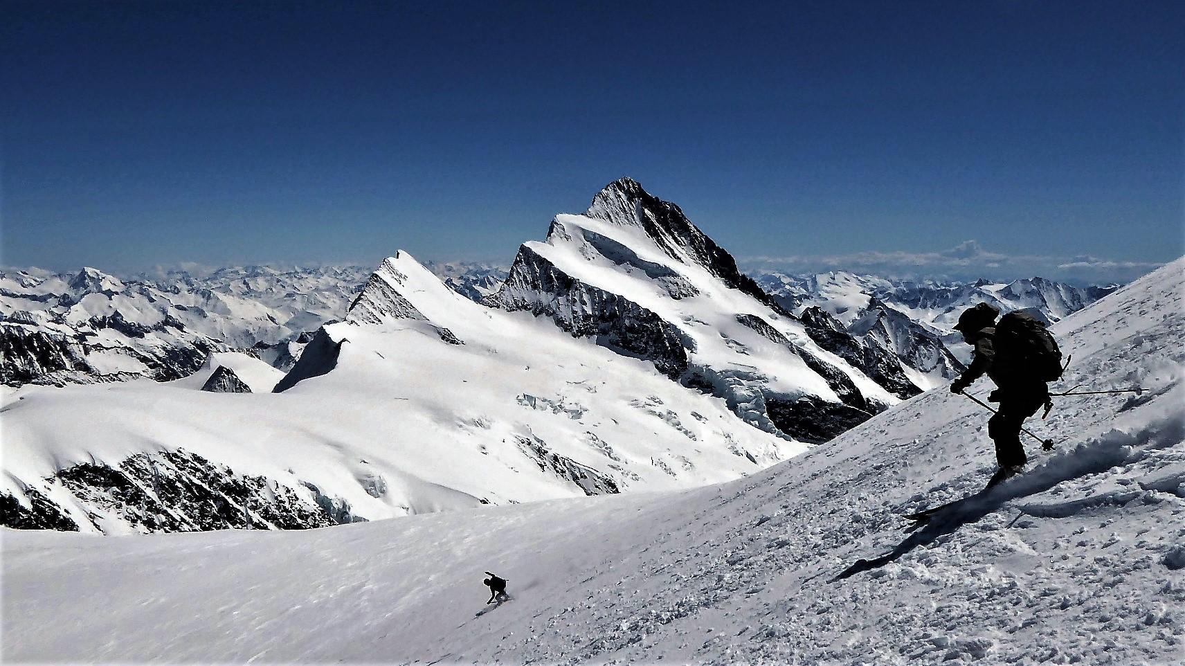 V prostranstvu Bernskih Alp. Smučanje s Fischerhorna (4025 m), zadaj mogočni Finsteraarhorn (4278 m), najvišja gora področja, levo od njega Agassizhorn (3946 m), prav tako odlična, strma smučarska gora.